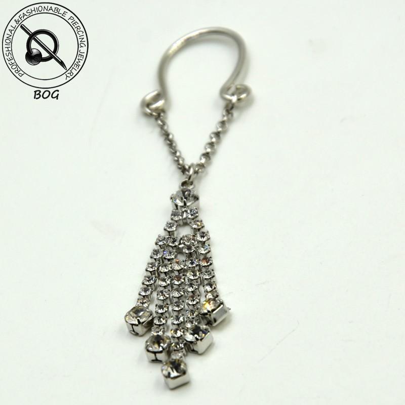11697-79987d2fe70d84e3940361c91b68c352 Sexy Pair Of Clip On Nipple Body Jewelry With Rhinestone Tassel Dangle