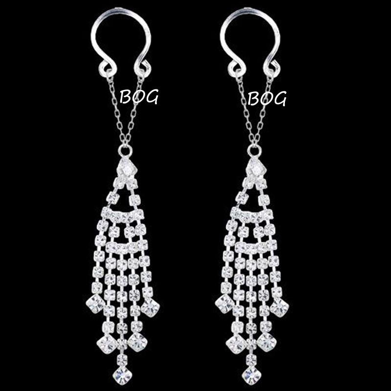 11697-9fa42612c70657a037b00c450e1e4268 Sexy Pair Of Clip On Nipple Body Jewelry With Rhinestone Tassel Dangle