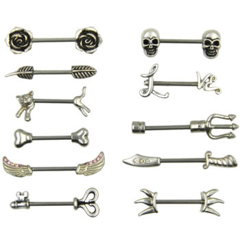 Stainless Steel Barbell Nipple Body Jewelry In Various Retro Designs