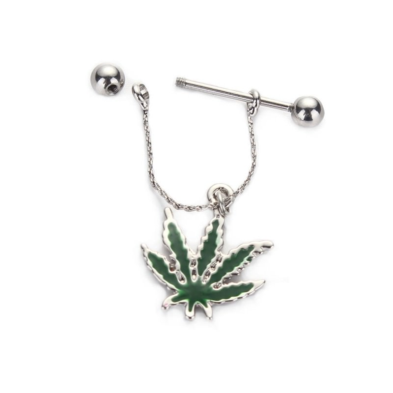 11699-16b2e8941ece8f4ea8543cef58ecfa23 Steel Bar Nipple Fashion Jewelry With Weed Leaf Shaped Dangle Pendant