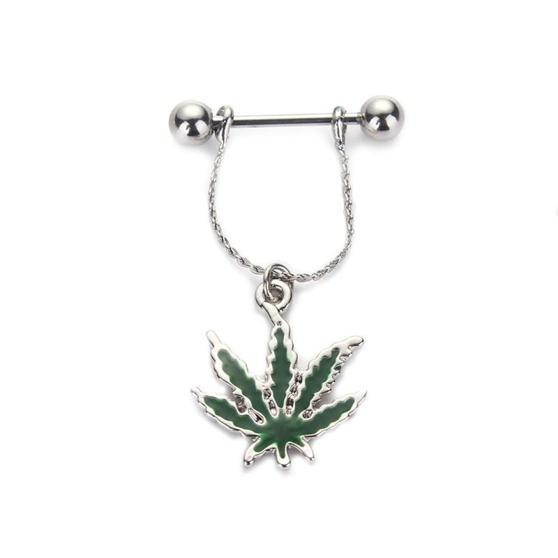11699-23a386dab9619fb227c420d44b6ae68f Steel Bar Nipple Fashion Jewelry With Weed Leaf Shaped Dangle Pendant