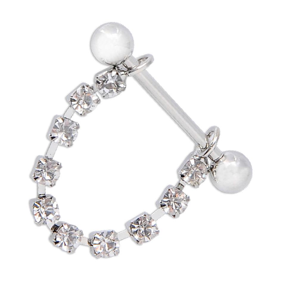 11700-5cfc6a94560c396299a5a228d8c9e5d5 White Surgical Steel Bar Shield Nipple Body Jewelry With Rhinestones