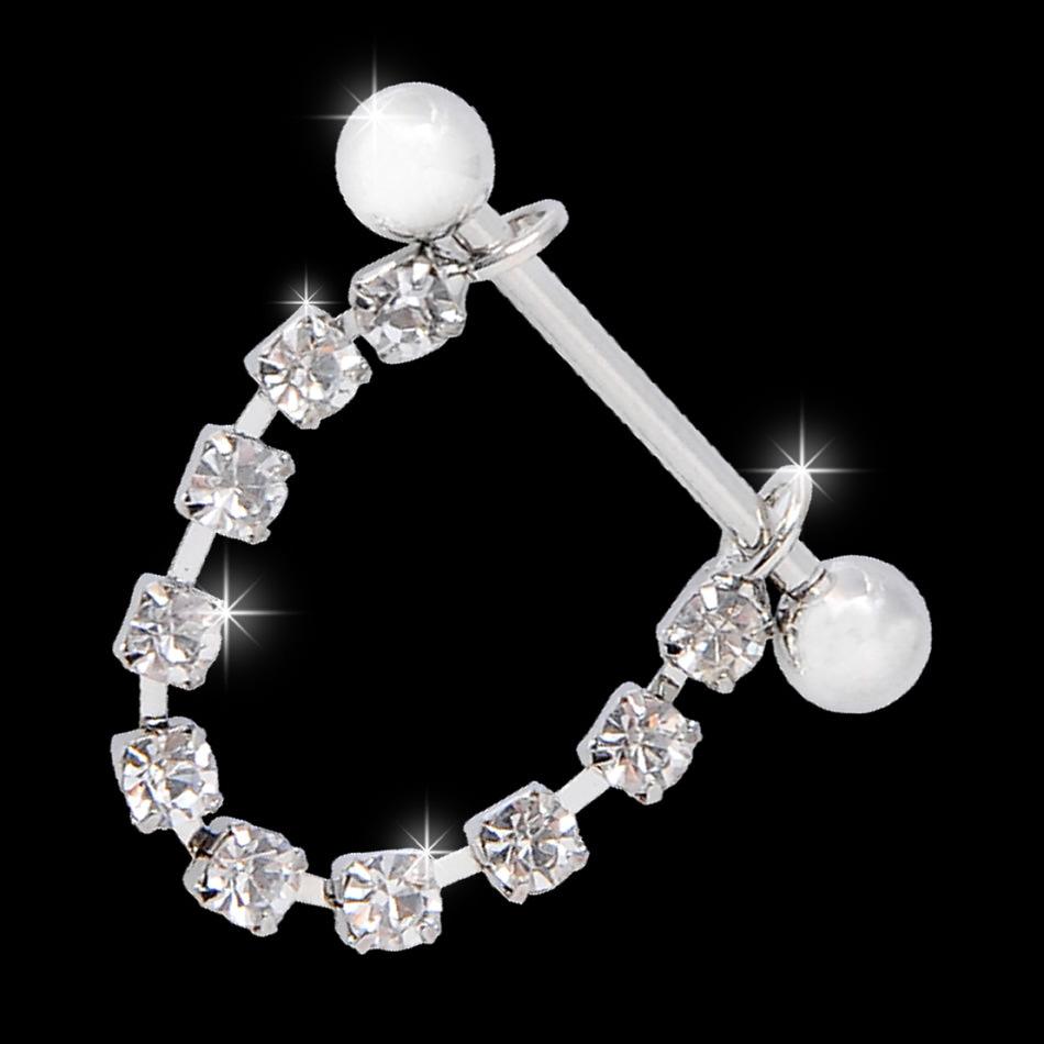 11700-862631a3f58b900b241505890714036b White Surgical Steel Bar Shield Nipple Body Jewelry With Rhinestones