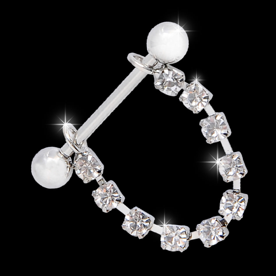 11700-99c0e3760e1ac39a1f725f19ddaf8f50 White Surgical Steel Bar Shield Nipple Body Jewelry With Rhinestones