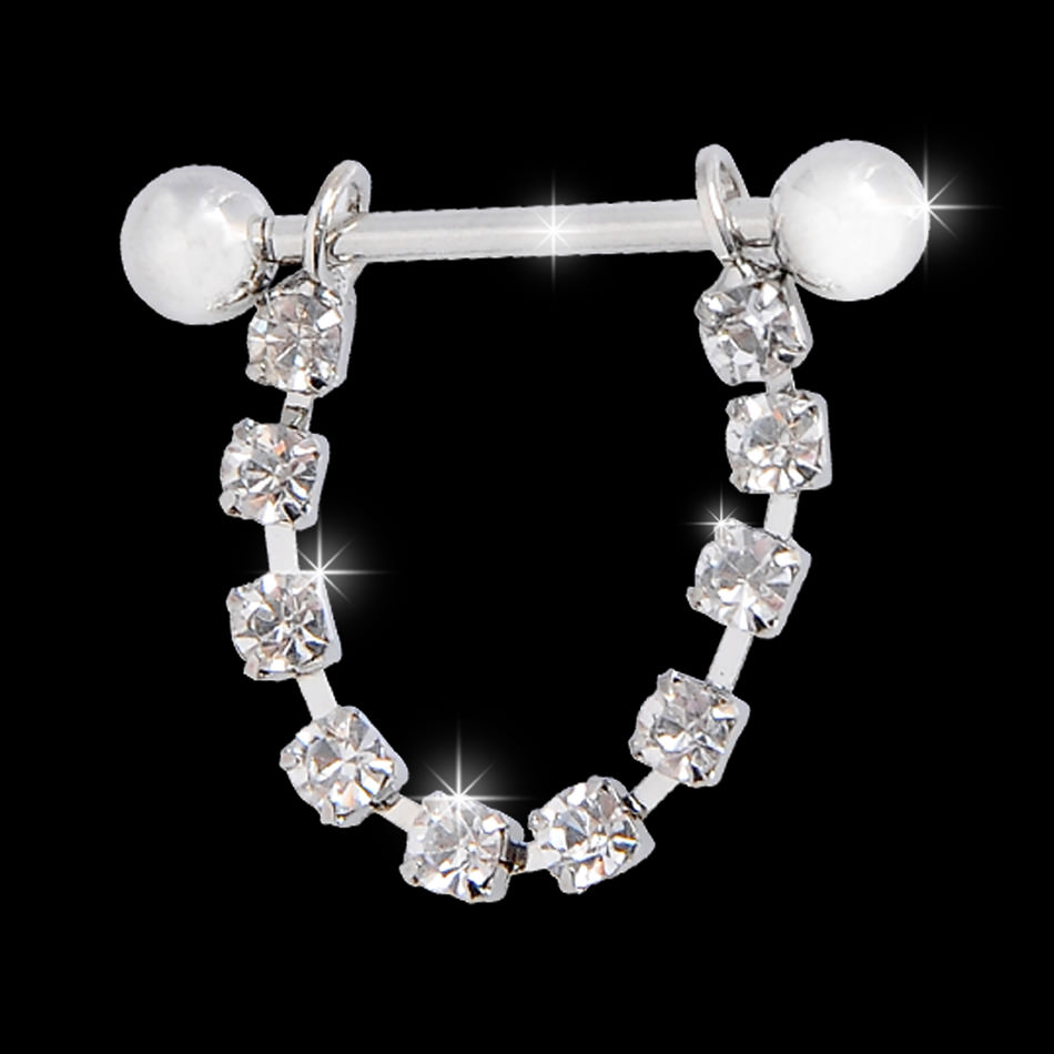 11700-ab0fb8fe8fea725b3f2117be8d04d128 White Surgical Steel Bar Shield Nipple Body Jewelry With Rhinestones