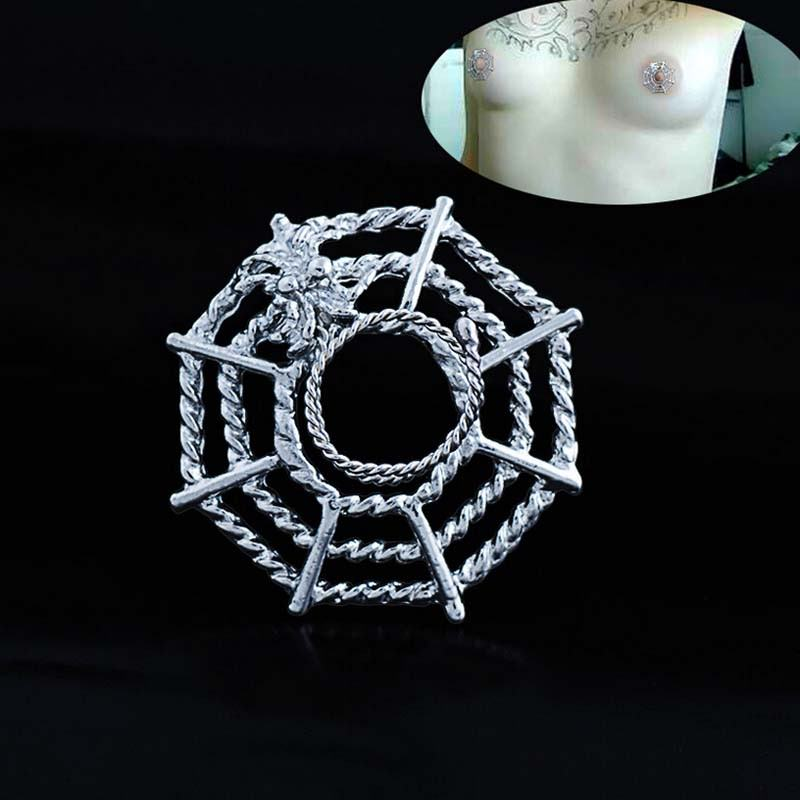 11706-ee10f35f264a8449c6fff7b745543280 Surgical Steel Spider On Web Fake Nipple Body Piercing Jewelry