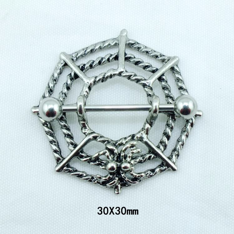 11707-34b4bececfff2a3f890b58cc5b684a3c Gothic Spider Web Surgical Steel Barbell Nipple Ring Jewelry