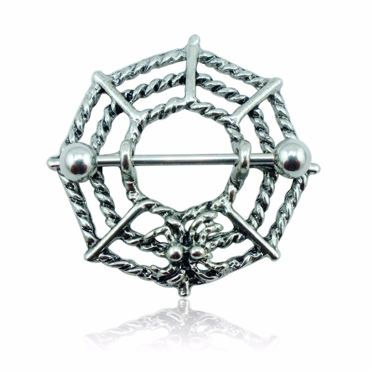 11707-d8cb53de7b7be276a9ec5113de44018a Gothic Spider Web Surgical Steel Barbell Nipple Ring Jewelry
