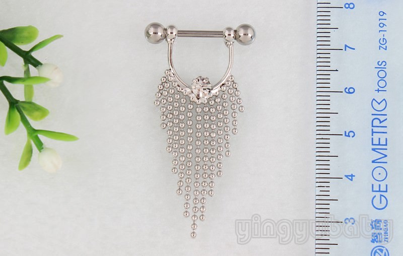 11708-268e12a6d865b54754ba6df70bf72718 Pair Of  Surgical Steel Bar With Tassel Dangle Jewelry For Nipples