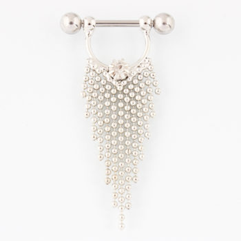 Pair Of  Surgical Steel Bar With Tassel Dangle Jewelry For Nipples