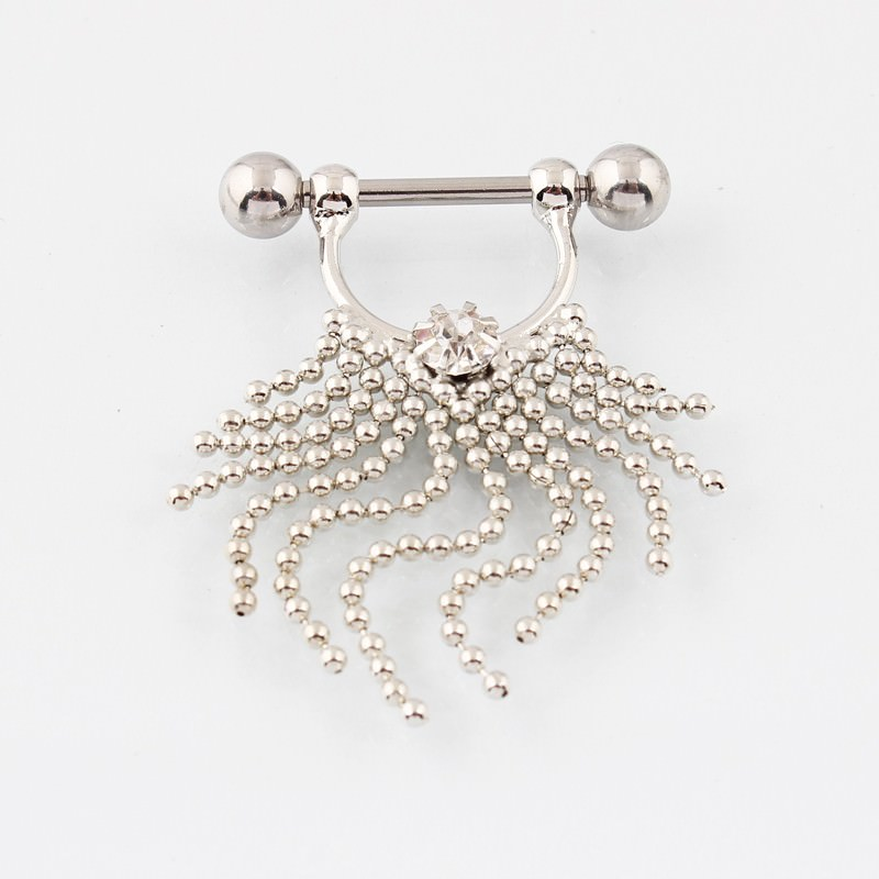 11708-499b47c9a7ca55691fa2c03b196dbd33 Pair Of  Surgical Steel Bar With Tassel Dangle Jewelry For Nipples
