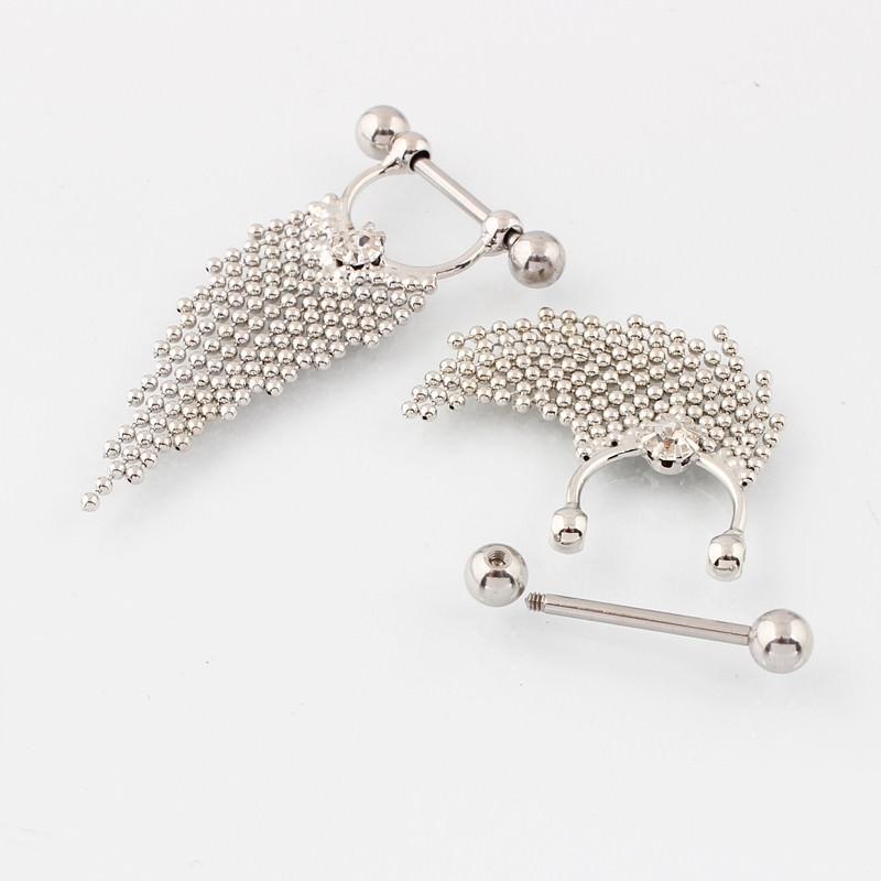 11708-6c6dde03f052eab99229fcd3c7b0e00d Pair Of  Surgical Steel Bar With Tassel Dangle Jewelry For Nipples