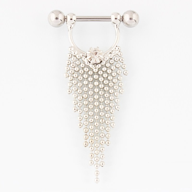 11708-8c16ef1fde6c10505d294e7eb1489dcd Pair Of  Surgical Steel Bar With Tassel Dangle Jewelry For Nipples
