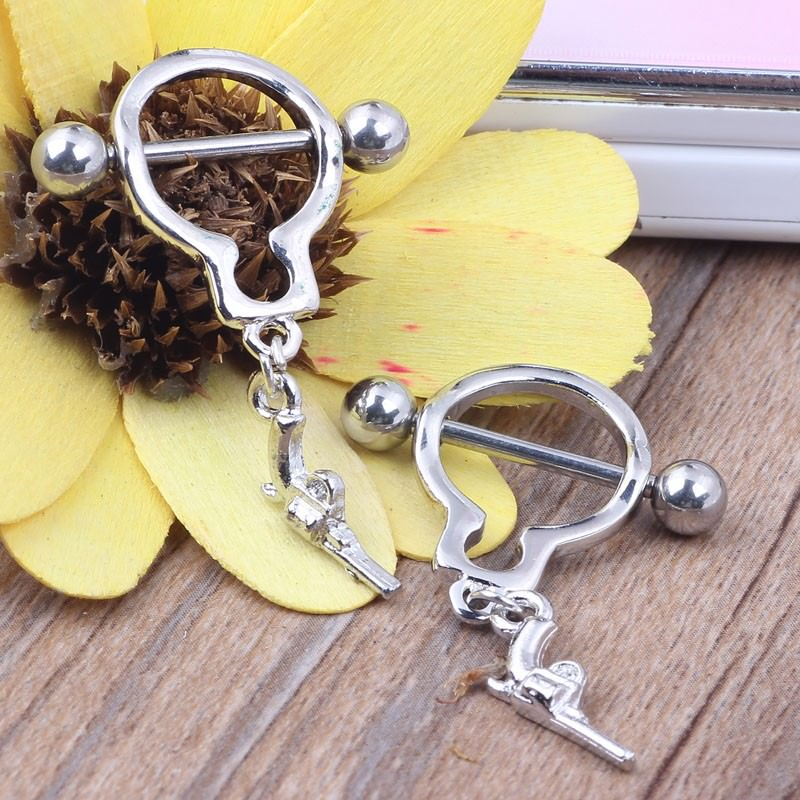 11709-9c97fa5b21e7abc2bc4315373078a74f Pair Of Bar Type Nipple Body Piercing Jewelry With Tiny Revolver Dangle