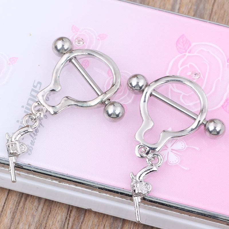 11709-db1e02823b076b22e8612b43f445d1b2 Pair Of Bar Type Nipple Body Piercing Jewelry With Tiny Revolver Dangle