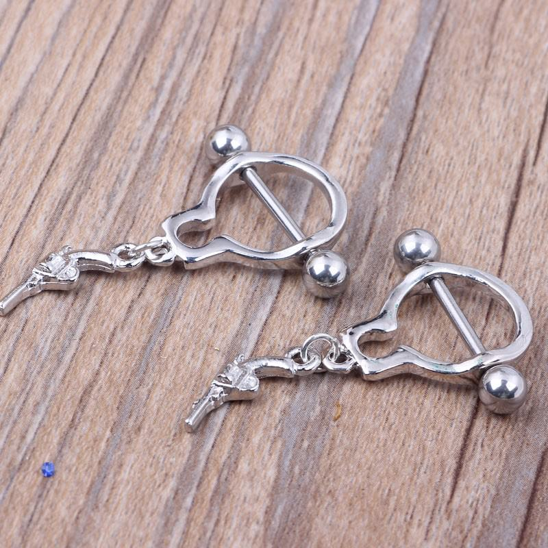 11709-faaba9c78dadf386d58e3392b4c5bc0a Pair Of Bar Type Nipple Body Piercing Jewelry With Tiny Revolver Dangle