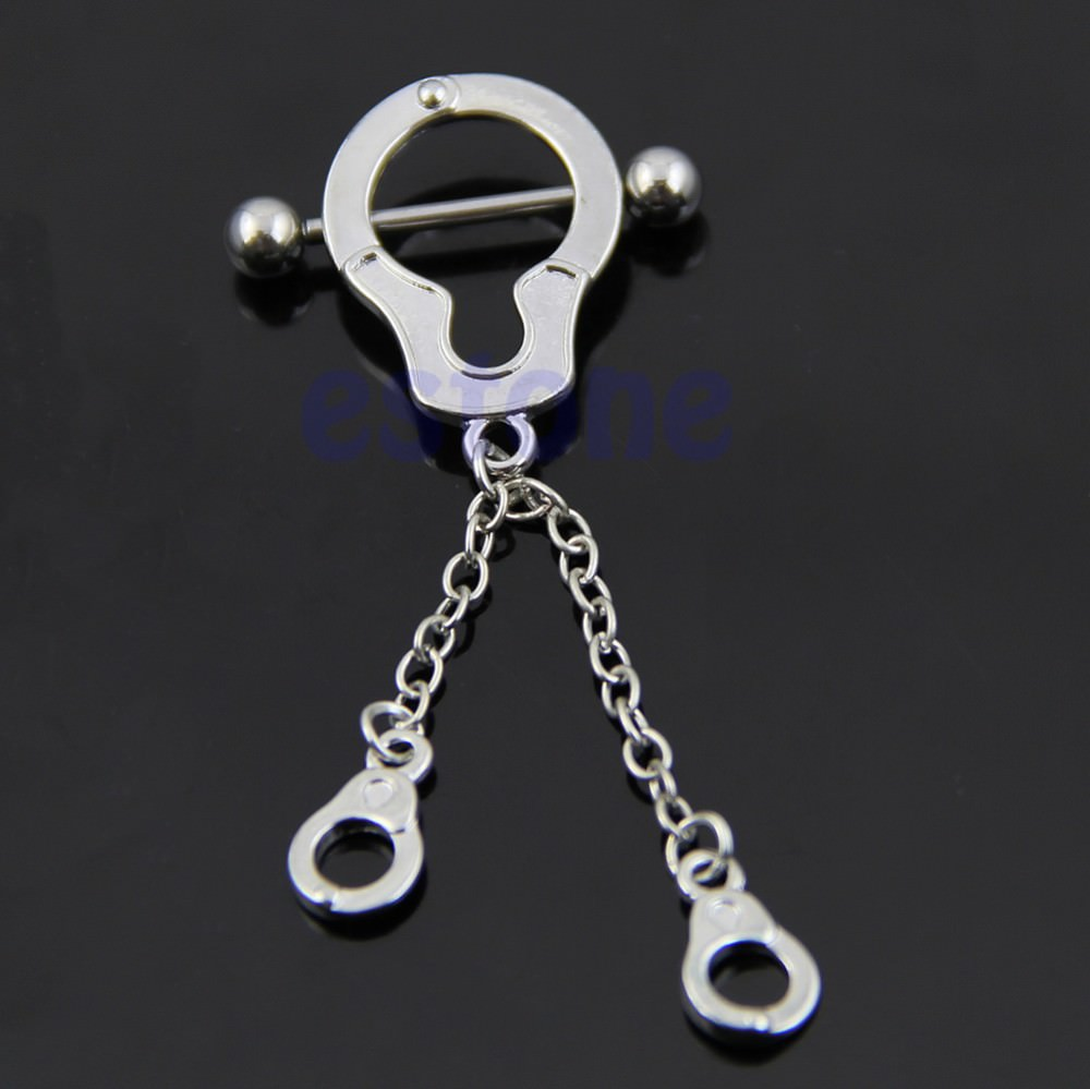 11712-64d6ac343269c1cd82a115bccc8f32a3 Stainless Steel Bar Nipple Or Belly Ring With Chained Handcuff Dangle