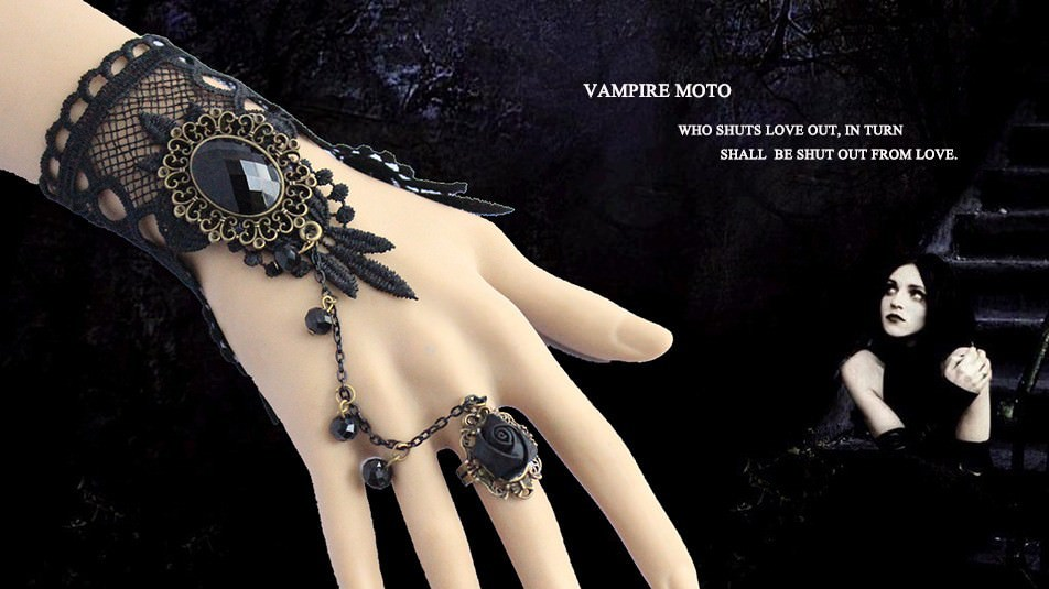 1907-932ea18eb9614d82fa60bbb0a72e53e5 Gothic Style Black Lace European Bracelet With Chain And Floral Ring