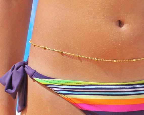 1912-20114f8fbe9d1159dbd98723e976db83 Summer Gold Plated Bikini Belly Chain With Round Beads