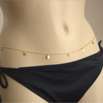 European Style Belly Chain Jewelry With Gold Coin Pendants