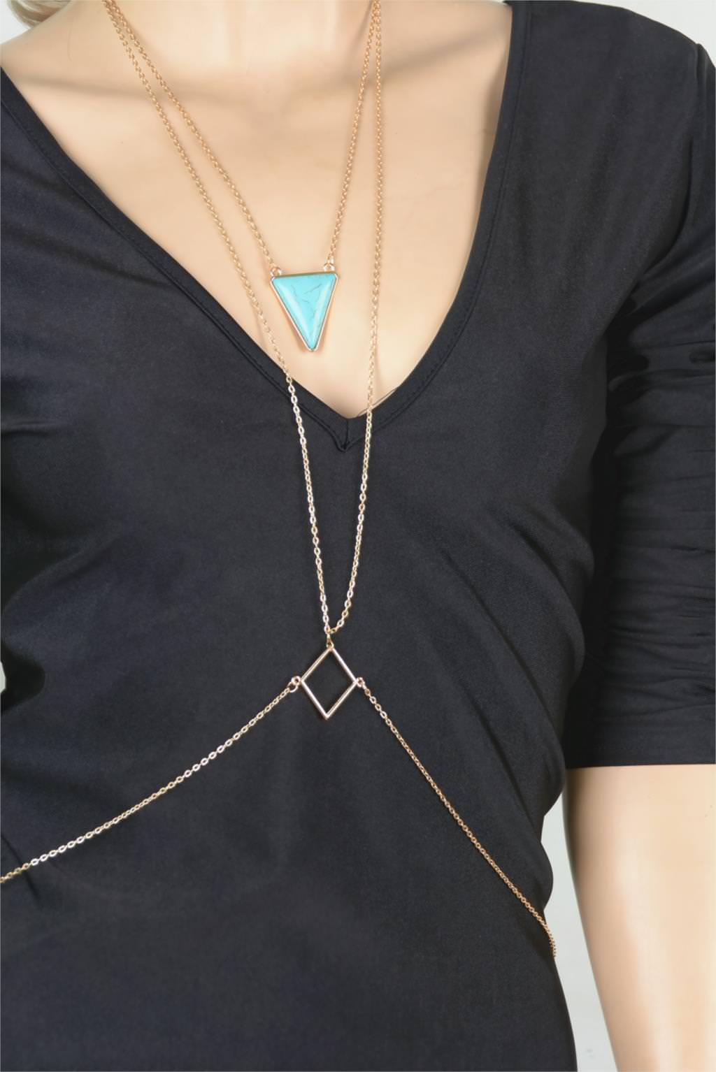 1960-d8f9108f7fbbc30d33bc9b63f8734391 Captivating Body Chain Necklace With Bijoux Triangle Turquoise Stone