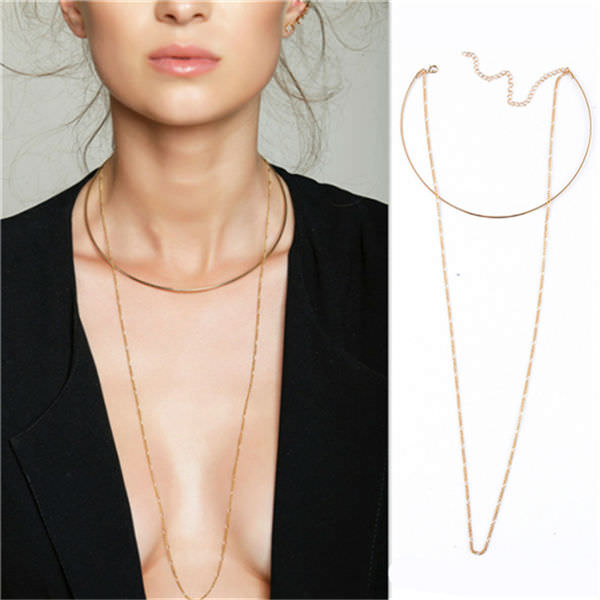 1970-e7028633e777c043752066ed6a6afd21 2-in-1 Choker and Chain Necklace