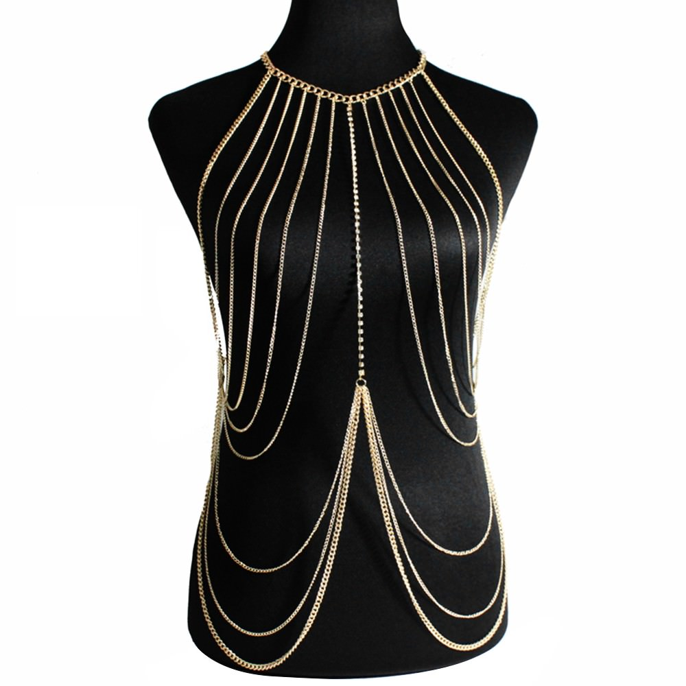1971-62f11cdf0a2ddf255150293bdfb30be4 Multi-layer Body Chain Jewelry With Rhinestone Beaded Chain Accent
