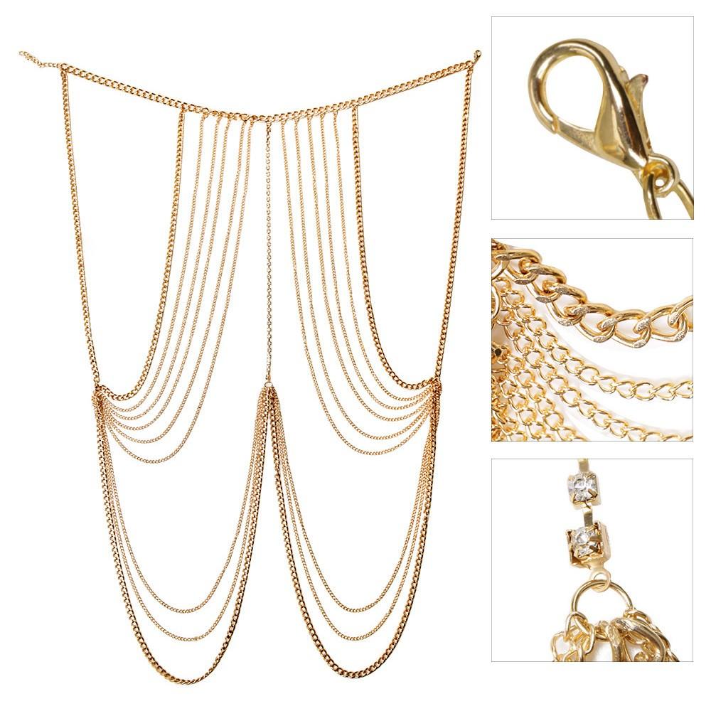 1971-9b1550d6665b6924b8f368f10e107116 Multi-layer Body Chain Jewelry With Rhinestone Beaded Chain Accent