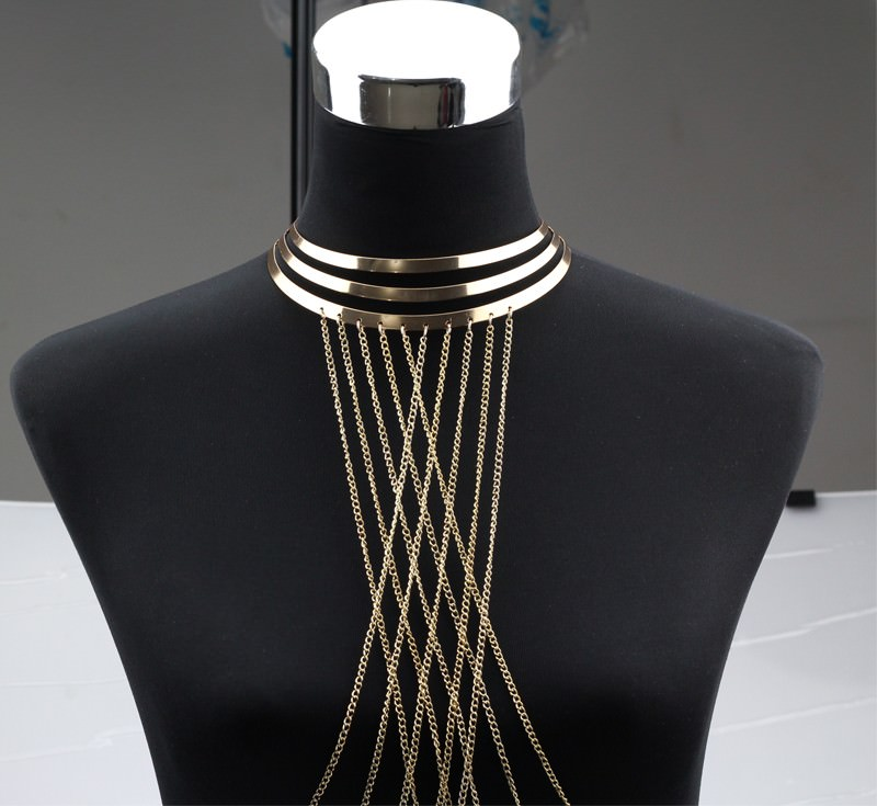1976-18be34c60b6075c95a6e07676078af3a Gold Plated Choker Necklace With Long Body Chain Jewelry