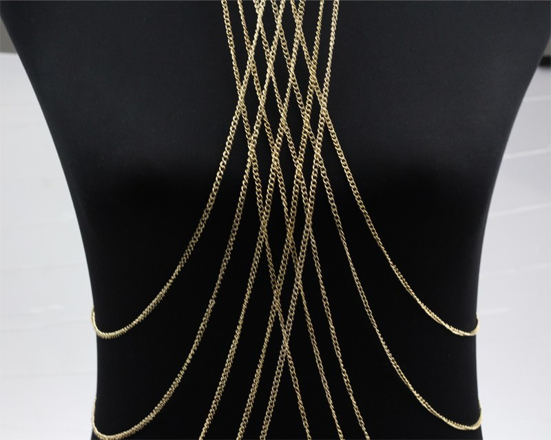 1976-1ec6d5b7e1abf0f3089da79f6489fa8a Gold Plated Choker Necklace With Long Body Chain Jewelry