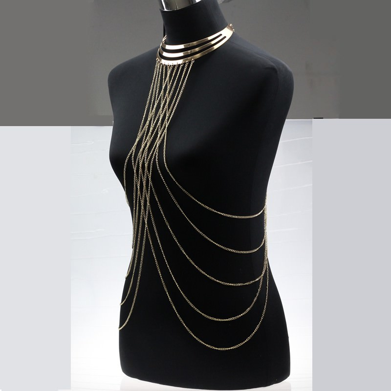 1976-217e9c871c9e70bd9df7e15f856c9d1f Gold Plated Choker Necklace With Long Body Chain Jewelry