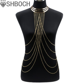 Gold Plated Choker Necklace With Long Body Chain Jewelry
