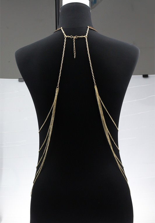 1976-6bd65a410cae1e4b9cac5b7d0b73bd41 Gold Plated Choker Necklace With Long Body Chain Jewelry
