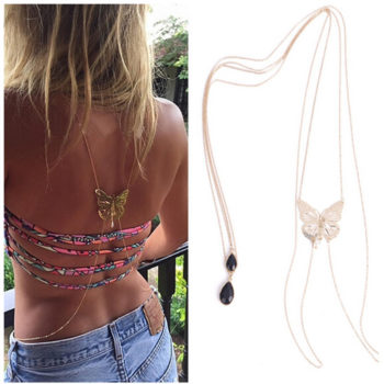 Sexy Long Body Chain With Black Crystal Pendant And Butterfly Accent