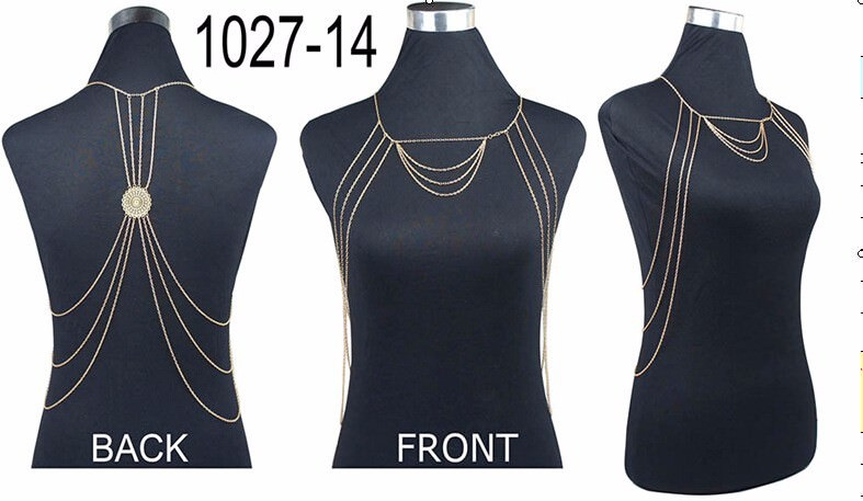 19839-9023b830f75ac79f3d642310259487b2 Sexy Gold Multilayer Shoulder Body Chain With Circular Back Accent