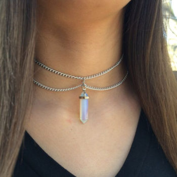 Double Chained Choker Necklace With Hexagonal Stone Crystal Pendant
