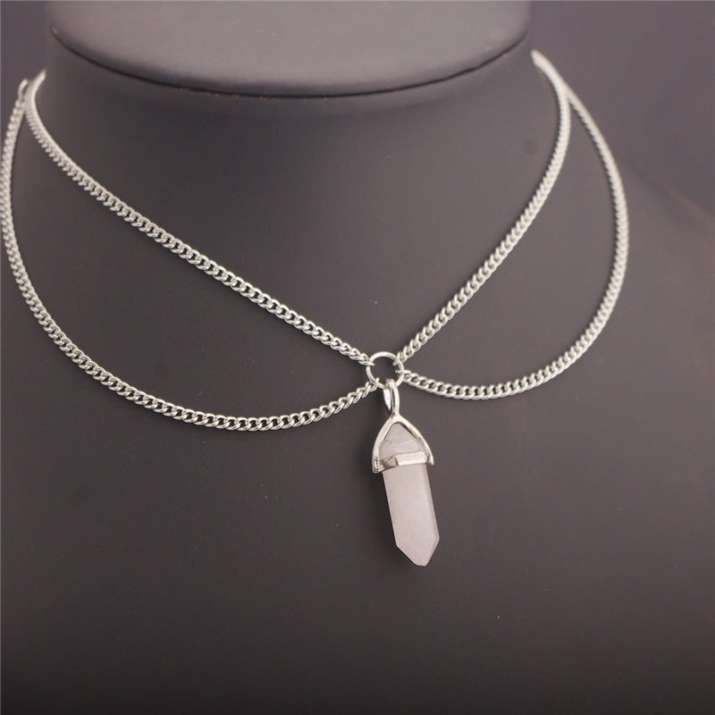 19840-a15b23888178a02f44123e4a3af2f246 Double Chain Adjustable Choker Necklace with Crystal Pendant
