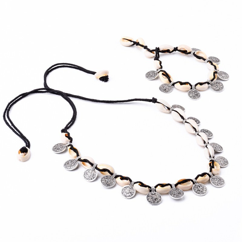 19841-1d06afdc28c84f551b8dfc48a3db0b17 Tribal Coin And Shell Choker Necklace Or Anklet Bracelet For Women