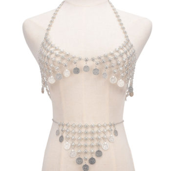 Retro Silver Swimsuit Body Chain With Coin Pendants Bikini Set