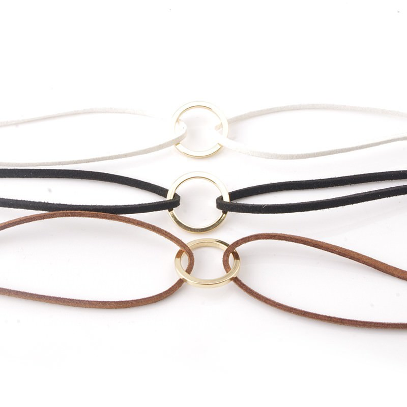 19845-7b5819f4a9de46d33eab1201312964b9 Double Leather Choker Necklace With Gold Ring Pendant