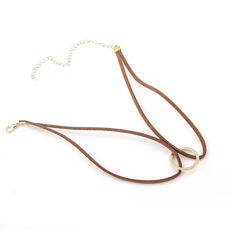 19845-882469070a9dba05f087263e82883322 Double Leather Choker Necklace With Gold Ring Pendant