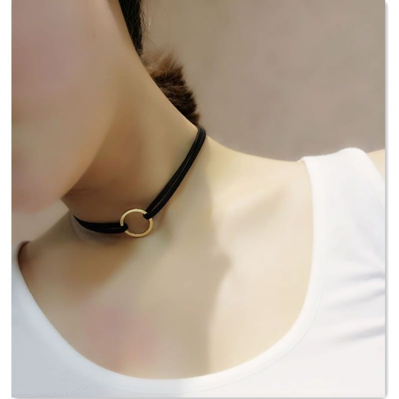 19845-abf8e492ed94cd8f45d1a4c1d94180c2 Double Leather Choker Necklace With Gold Ring Pendant