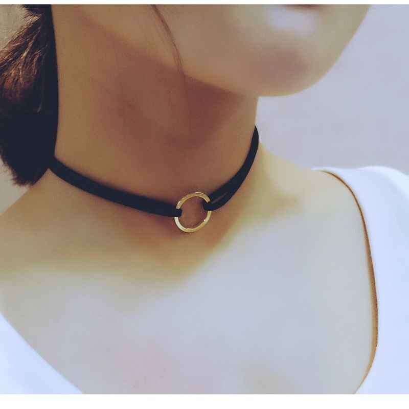 19845-ac36593ba539bb3c4262f1d7a258f422 Double Leather Choker Necklace With Gold Ring Pendant