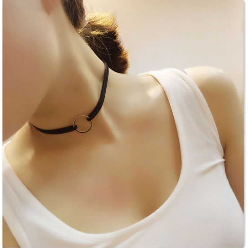19845-b8383fa449531de45b4ad8b6a98de770 Double Leather Choker Necklace With Gold Ring Pendant