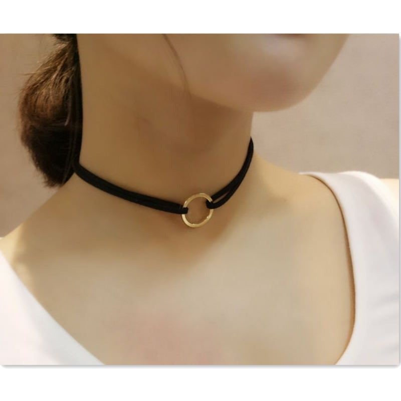 19845-c44effdcb5aba1293579116bbf652cef Double Leather Choker Necklace With Gold Ring Pendant