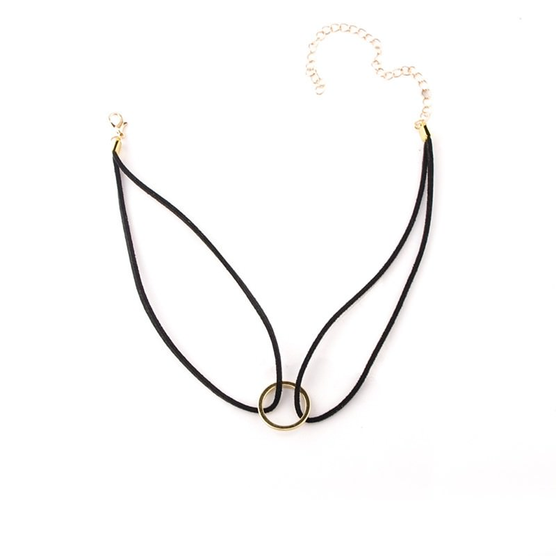 19845-dc791c82a6efa9264337638a678d6fca Double Leather Choker Necklace With Gold Ring Pendant