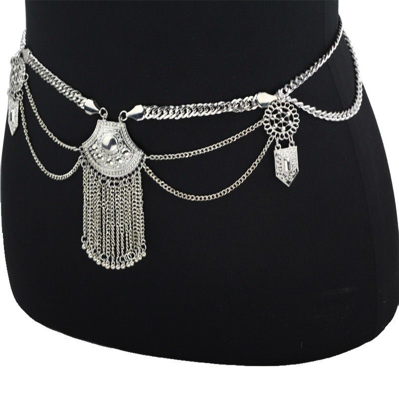 19846-88296dcaf5f0e7bf78b116f5f4b65ac7 Women's Metallic Boho Chic Swimsuit Body Chain With Tassels