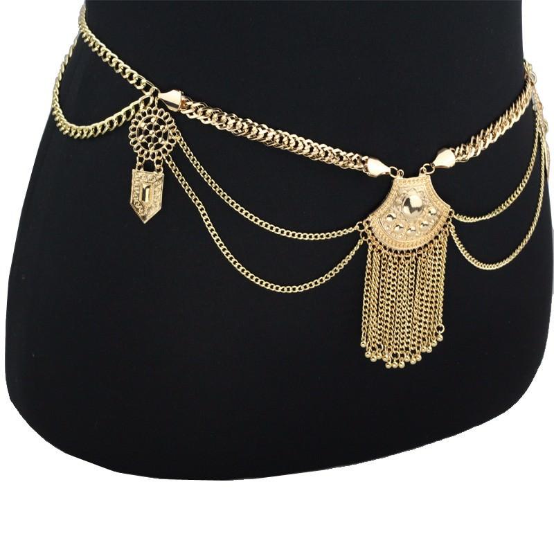 19846-8e55e247940937c879da69d58ed6895e Women's Metallic Boho Chic Swimsuit Body Chain With Tassels