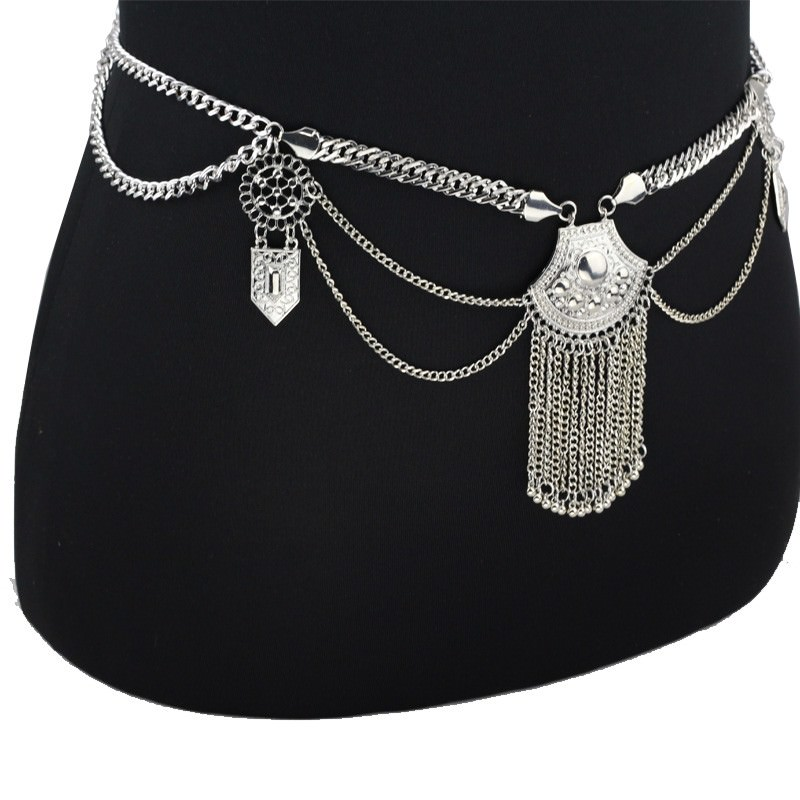 19846-df7b9eac1768b9f09d84159c79597b9b Women's Metallic Boho Chic Swimsuit Body Chain With Tassels