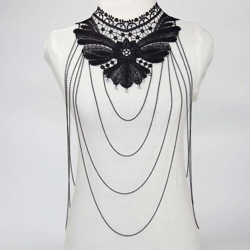1987-23be2f7b6acd7b5c168bca6b26ff0c31 Sexy Body Chain Women Necklaces&Pendants Black Lace Tassel Punk Long Necklace 2016 New Designer Flower Collares Fashion Jewelry